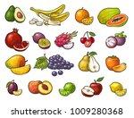 set fruits. mango  lime  banana ... | Shutterstock .eps vector #1009280368