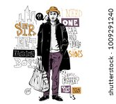 banner with stylish boy in... | Shutterstock .eps vector #1009291240