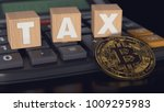 bitcoin against calculator and... | Shutterstock . vector #1009295983