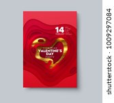 valentines day party flyer. red ... | Shutterstock .eps vector #1009297084
