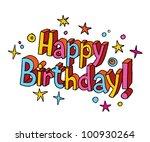 happy birthday cartoon text | Shutterstock .eps vector #100930264