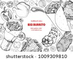burrito and ingredients for... | Shutterstock .eps vector #1009309810