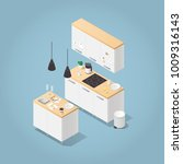 vector isometric kitchen... | Shutterstock .eps vector #1009316143
