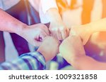 close up top view close fisted... | Shutterstock . vector #1009321858