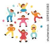 happy joyful dancing children... | Shutterstock .eps vector #1009331083