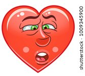 cartoon red heart bored.... | Shutterstock .eps vector #1009345900