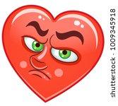 cartoon red heart cry.... | Shutterstock .eps vector #1009345918