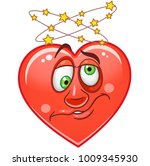 cartoon red heart with dizzy.... | Shutterstock .eps vector #1009345930