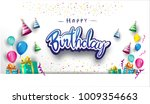 happy birthday typography... | Shutterstock .eps vector #1009354663