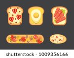 set toasts and sandwich...   Shutterstock . vector #1009356166