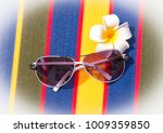 sunglasses on towel shows sunny ... | Shutterstock . vector #1009359850