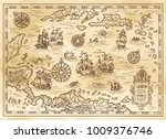 Ancient Pirate Map Of The...