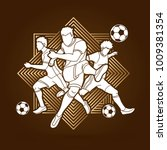three soccer player team... | Shutterstock .eps vector #1009381354