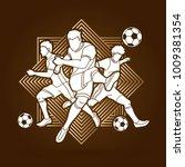 three soccer player team... | Shutterstock .eps vector #1009381354