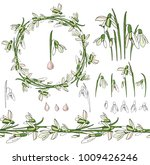 set with snowdrops on white.   Shutterstock .eps vector #1009426246