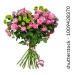 bouquet of pink roses and aster ... | Shutterstock . vector #1009428370