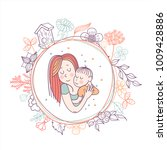 the mother and her child.... | Shutterstock .eps vector #1009428886