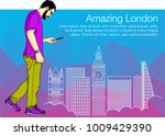 man walking and looking at gps... | Shutterstock .eps vector #1009429390