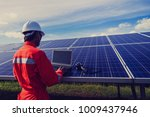 engineer checking heat of solar ... | Shutterstock . vector #1009437946
