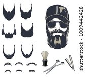 set of vector bearded men... | Shutterstock .eps vector #1009442428