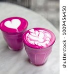two beetroot super latte on... | Shutterstock . vector #1009456450