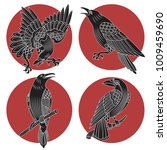 vector black ravens and crows... | Shutterstock .eps vector #1009459690