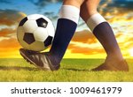 soccer ball with feet player on ... | Shutterstock . vector #1009461979