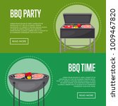 bbq party flyers with meat and... | Shutterstock .eps vector #1009467820