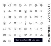 50 user interface line icons | Shutterstock .eps vector #1009477354