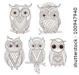 Stock vector set of cute owls 100947940