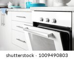 modern electrical white oven in ... | Shutterstock . vector #1009490803