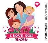 mom is hugging three children.... | Shutterstock .eps vector #1009496308
