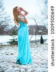 beautiful young girl in a long... | Shutterstock . vector #1009500649