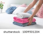 woman putting stack of clean... | Shutterstock . vector #1009501204