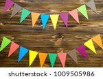 paper  flags  party garland  on ... | Shutterstock . vector #1009505986