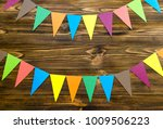 paper  flags  party garland  on ... | Shutterstock . vector #1009506223