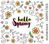 hello spring text in a flower... | Shutterstock .eps vector #1009517323