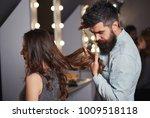 bearded male hairdresser... | Shutterstock . vector #1009518118