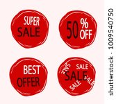 red discount stickers set.... | Shutterstock .eps vector #1009540750