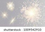 yellow lights set. shining... | Shutterstock .eps vector #1009542910
