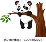 cartoon funny panda hanging on... | Shutterstock .eps vector #1009552024