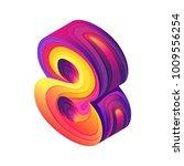 isometry bright digit 8  paper... | Shutterstock .eps vector #1009556254