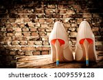 woman shoes and free space for... | Shutterstock . vector #1009559128