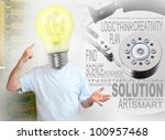 Creative man with new ideas and solutions on a his hard drive. - stock photo