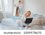 tired woman sitting on the... | Shutterstock . vector #1009578670