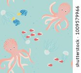 seamless childish pattern with... | Shutterstock . vector #1009579966