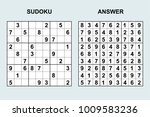 vector sudoku with answer 111.... | Shutterstock .eps vector #1009583236