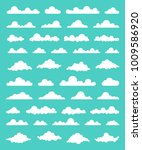 collection of stylized cloud... | Shutterstock .eps vector #1009586920