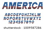 font with usa flag grange... | Shutterstock .eps vector #1009587286