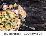 delicious italian pizza on... | Shutterstock . vector #1009594504
